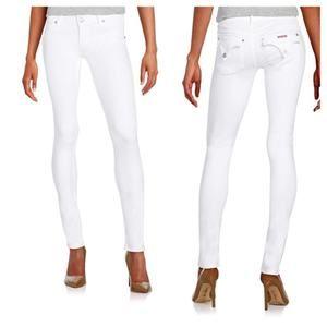 Hudson Womens Collin Skinny Jeans in White